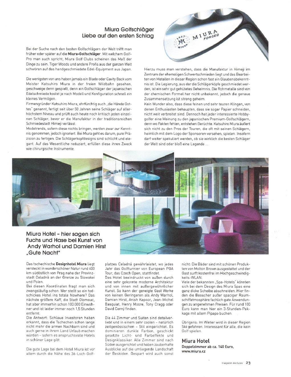 Miura Golf Featured in Magazin Exclusiv - Germany - Mary Beth Lacy ...